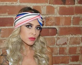 Festival Boho Multi Stripe Stretch Stripe Turban Headband