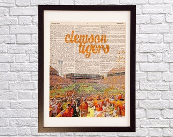 Clemson University Dictionary Art Print - Death Valley, Memorial Stadium - Print on Dictionary Paper - Clemson Tigers, Graduation Gift