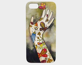 Phone Case, smart phone, butterfly tatoo hand, illustration by Kim Durocher, hard shell, for Iphone