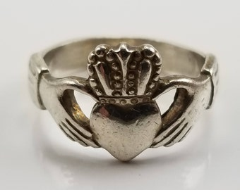 Vintage Sterling Silver Claddagh Ring Size 5, Claddagh Rings ,Irish Rings