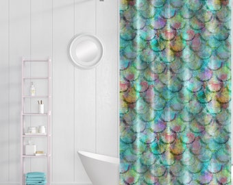 Mermaid Shower Curtain Beach Bathroom Decor Colorful Fish Scale Bath Mat