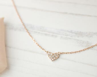 14k Rose gold Diamond tiny pave heart necklace, 14k gold heart pendant, dainty diamond necklace, rose gold, white gold, hea-n103-dia