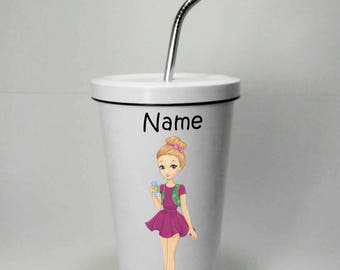 Girl Style 1 Stainless Steel Tumbler 16 OZ with Straw, Stainless Tumbler with Custom Name, Stainless Steel Travel Mug