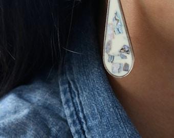 Vintag Alpaca Earrings - Abalone Inlay Earrings - Mexico Drop Earrings - Silver Dangle Earrings - White Enamel Earrings