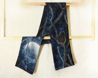 Blue mens silk scarf Hand painted Double sided Black Bird handpainted Mens fashion Classic Elegant original Unique painting Moon light