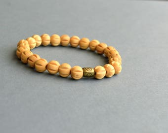 Wood Bracelet. Beaded Bracelet. Yoga Bracelet. Minimalist Bracelet. Gift Under 10 Dollar. Gift For Her. Christmas Gift. Boho Bracelet. Wood.