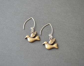 Dove Earrings. Brass Earrings. Dangle Earrings. Handmade Earrings. Christmas Gift. Gift Under 20 Dollar. Gift For Woman. Vintage Earrings.