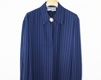 Vintage Navy Pin Striped Men's Style Shirt