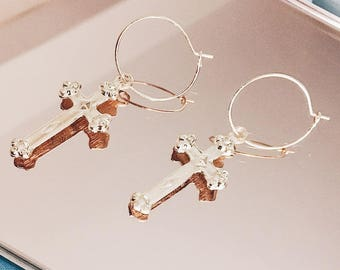 Gold Cross Hoop Earrings   Gothic Detail   Religious Jewelry   Gold Tone   Minimalist Jewellery