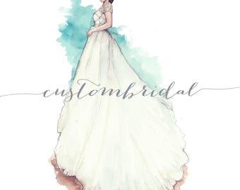 Custom bridal illustration ,Fashion illustration , gift for her