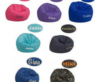 kids Size personalized bean bag chairs- embroidered chairs
