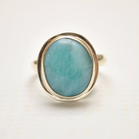 Sterling Silver Larimar Oval Ring Sz 6.5 #9351