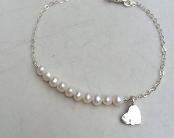 Tiny Freshwater pearl bracelet Sterling Silver hammered heart small pearl bracelet seed pearl bracelet white pearl bridal jewelry wedding