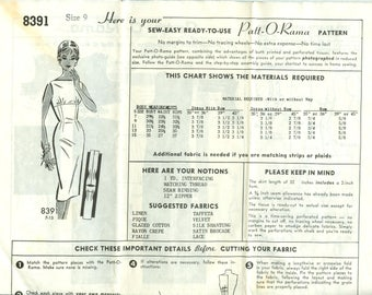 1950s Misses' Wiggle Dress with Fitted Midriff and Bateau Neckline Uncut Factory Fold Size 9 - Patt-O-Rama Sewing Pattern 8391