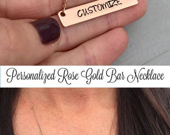 ROSE GOLD Bar Necklace, Personalized Necklace, Hand Stamped Necklace, Rose Gold Necklace, Mother's Day Jewelry, Graduation Gift For Her