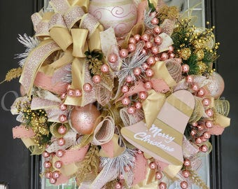 Christmas Wreath, Rose Gold Christmas Decor, Holiday Wreath, Front door wreath, Wreath for door, Large wreath, Deco Mesh Wreath