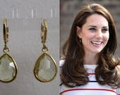 Kate Middleton Duchess of Cambridge Inspired Replikate Tear Drop Citrine Yellow Gold Crystal Hoop Earrings