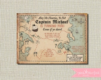 Pirate Invitation, Treasure Map Invitation, Pirate Birthday Party, Pirate Party, Vintage Pirate, Treasure Map, Pirates, Pirate Party