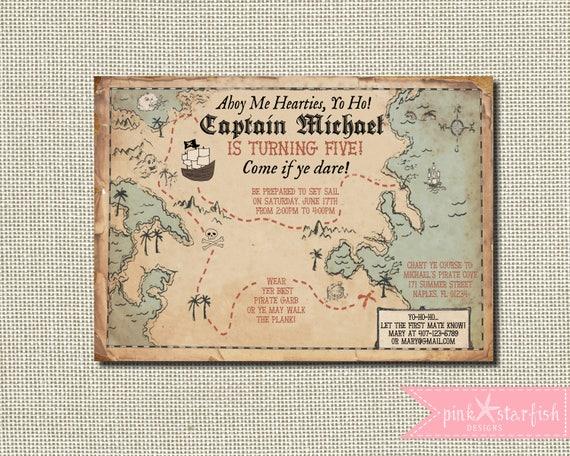 Wedding Invitation Map Maker: Pirate Invitation Treasure Map Invitation Pirate Birthday