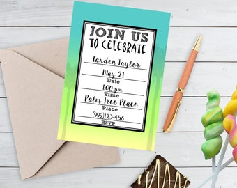 Printable Birthday Invitation, Printable Luau Invitation, Pool Party Fill in the Blank Invitation, Blank Invite by SUNSHINETULIPDESIGN