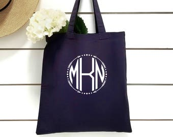 Monogram Tote Bag.Bridesmaid Tote.Bridal Party Gift. Personalized Bridesmaid Gift Tote.Bachelorette Party Tote.Maid Of Honor Tote.Navy Blue