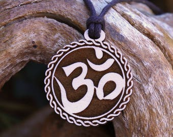 """Om """"Rope"""" Pendant Necklace - Laser Cut Homeade Engraved Women's Jewelry Gifts"""