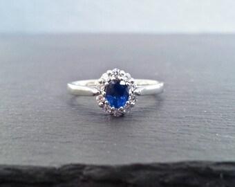Sapphire & Diamond Halo Engagement Ring