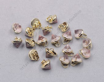 10mm Faceted Clear Quartz Small Tower Pendants -- With Electroplated Gold Edge Gemstone Charms Wholesale Supplies YHA-339