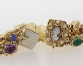 14K Gold Gemstone and carved Cameo Bracelet