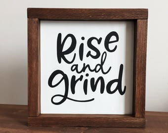 Rise and Grind Sign, Wood Sign |  Coffee Bar Sign, Coffee Decor, Grind Sign, Kitchen Sign,  Coffee Lover
