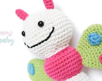 Amigurumi, crochet rattle, butterfly.Plush for baby.