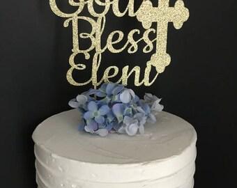 God Bless Cake Topper, Baptism Cake Topper, Cross Cake Topper, Christening Cake Topper, Communion Cake Topper, Baptism decor, Baptism