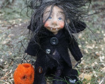 Clementine, needle & wet felted OOAK doll