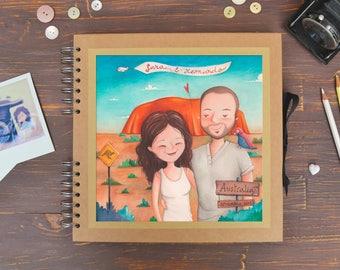 HONEYMOON - Photo album with custom illustration, original gouache painting