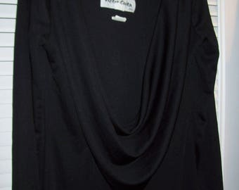 Victor Costa 6, Little Black Dress, Back Shown First, Bare Back with Drape, Front Scooped Neck - see details
