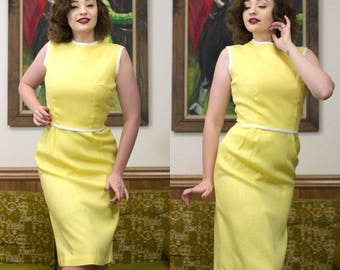 1960s Yellow Dress | Canary Yellow | 60s Dress | Yellow Wiggle Dress | 1960s Dress | 60s Dress Set | 60s Wiggle Dress | 60s Day Dress | 25""