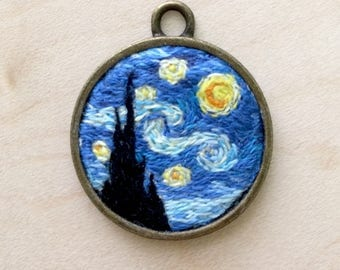 The Starry Night hand embroidered pendant, jewelry pendant, surreal pendant