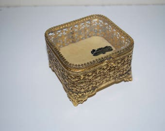 Stylebuilt Gold Gilt Ormolu & Glass Vanity Jewelry Box