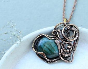 Heart pendant Labradorite pendant Wire wrapped necklace  Wire wrapped pendant Copper jewelry Wire wrapped jewelry Gift for her Mother gift