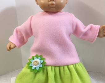 "15 inch PINK & GREEN Soft Fleece Dress with Pretty Felt Flower, 15"" AG American Bitty Baby Clothes and Twin Doll , 15"" Doll Clothes"