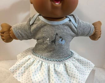 "Cabbage Patch 14 inch BABY or Smaller 14 inch Doll Clothes, Cool ""ZOO ANIMALS""-Giraffe-Zebra Ruffle & Trim Dress, Cabbage Patch Doll Clothes"