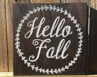 Hello Fall Wood Sign with wreath, fall decor, fall signs