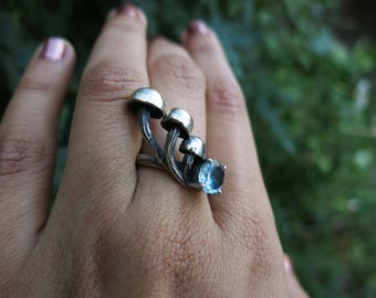 Mushroom Patch and Blue Topaz Sterling Silver Ring