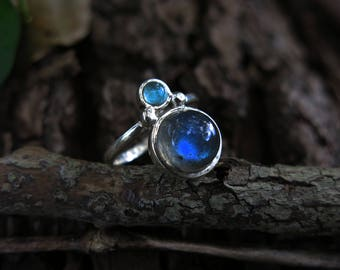 Size 7 Labradorite and Blue Apatite Sterling Silver Ring