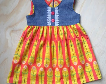 Feather print dress for 18 month - 2 year old girl