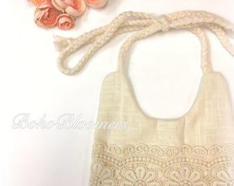 Boho Bib Lace Bib Cream White Fringe Baby Shower Bohemian