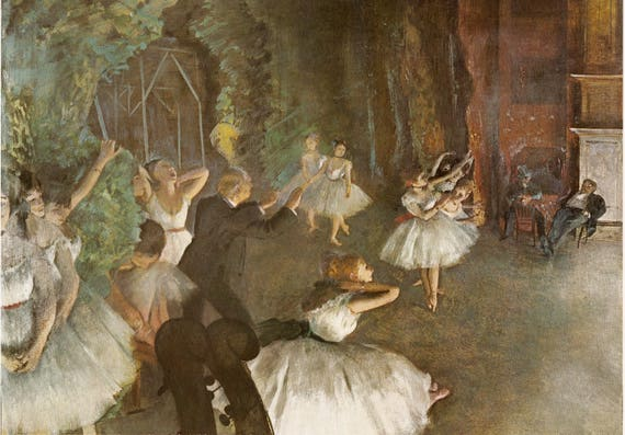 Vintage print of Edgar Degas painting, Rehearsal of the Ballet on Stage, French, 11.5 x 8.75 inches, published 1965