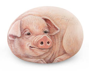 Sweet Pig Hand Painted on Rock | Stone Art by Roberto Rizzo