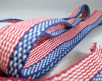 "Inkle weaving ribbon, strap, band, or trim - 1"" handwoven -  SCA, LARP, Viking, and Cosplay - Red White Blue"