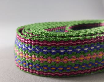 "Inkle weaving ribbon, strap, band, or trim - 7/8"" handwoven -  SCA, LARP, Viking, and Cosplay - Green Pink Purple Yellow"